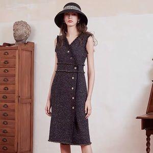Simple retro tweed wool blend dress